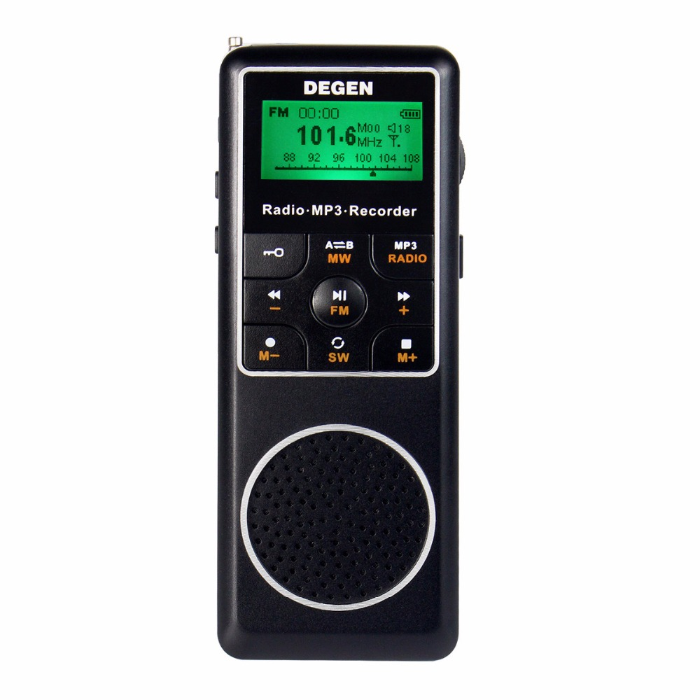 Degen DE1127 FM Stereo Radio Mini Portable Radio Receiver MW SW AM With 4GB MP3 Player Pocket Digital Recorder D2975A full band portable radio degen de29 fm am digital tuning clock beautiful sound rechargeable mp3 player radio dot matrix screen