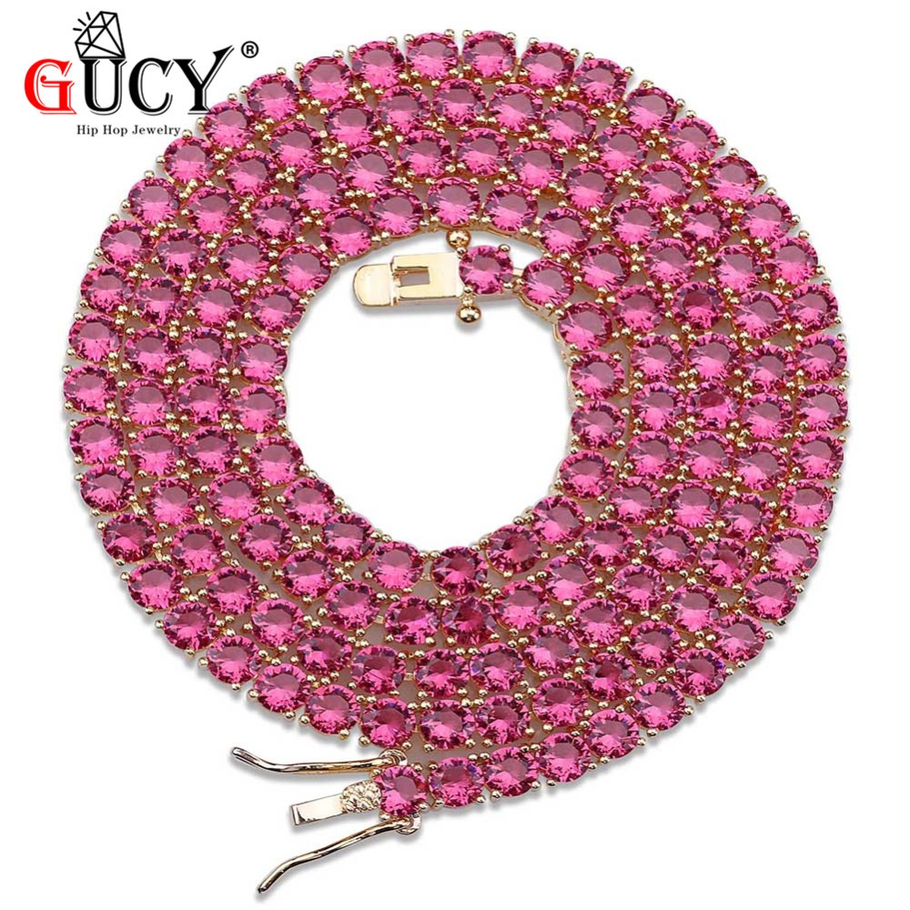 GUCY 4mm Hip Hop Iced Out Necklace Gold Silver Color Plated Micro Pave Red Blue Cubic