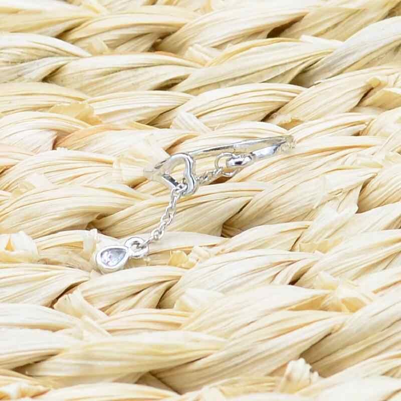 Mode Silber Farbe AAA Cubic Zirkon Wunderschöne Ringe für frauen Einstellbare Wasser Tropfen Herz Öffnen Finger-Ring Hochzeit Schmuck