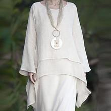 Женская блузка Bluzki Damskie размера плюс, необычная Повседневная Льняная блуза с длинным рукавом и вырезом лодочкой, модная женская блузка