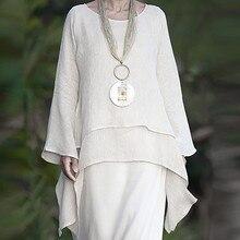 Irregular Linen Long Sleeve  Blouse