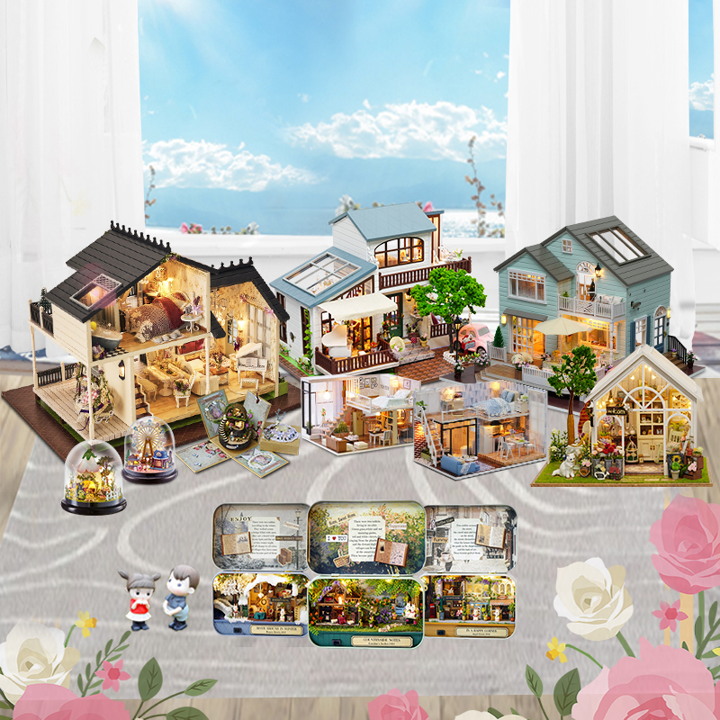 Cutebee Doll House Furniture Miniature Dollhouse DIY Miniature House Room Box Theatre Toys For Children Casa DIY Dollhouse B