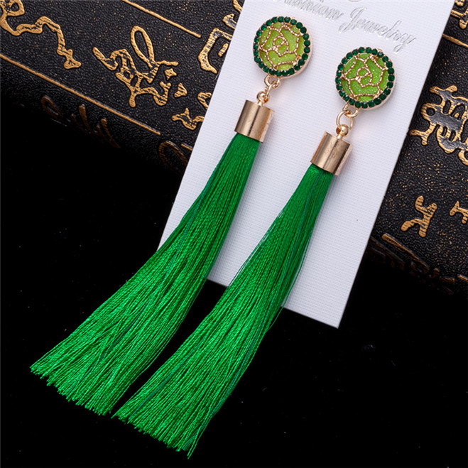 HTB1dxWkV3TqK1RjSZPhq6xfOFXaL - HOCOLE Bohemian Crystal Tassel Earrings Black White Blue Red Pink Silk Fabric Long Drop Dangle Tassel Earrings For Women Jewelry