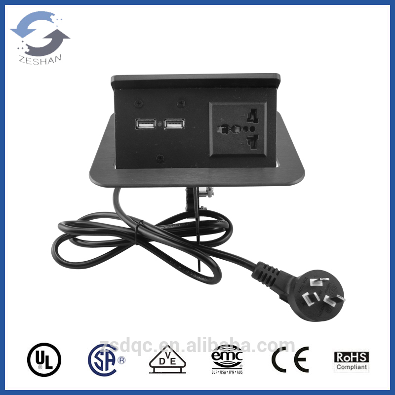 Universal power and USB charger Hidden desktop socket/aluminum panel montblanc