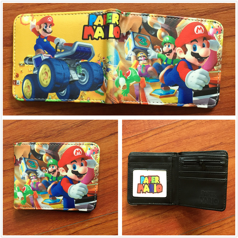 New arrivel Cartoon Super Mario Wallet Women Men Casual Short Wallet slim purse Card Holder Teenagers Money Cash Bag W613