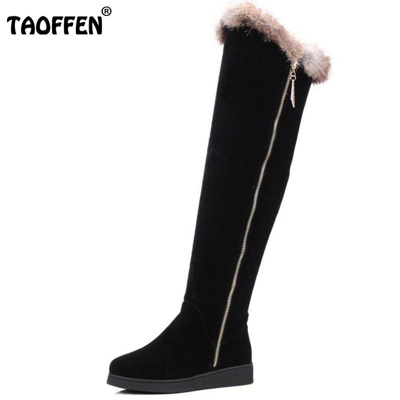 TAOFFEN Women Round Toe Flat Over Knee Boots Woman Suede Leather Long Boots Mujer LadY Warm Fur Winter Shoes Footwear Size 34-43 taoffen size 30 52 russia women round toe height increasing mid calf boots woman cross strap warm fur winter half shoes footwear