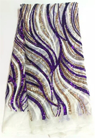 Special Offer Purple Color High Quality African Tulle Lace Net Lace Fabric With Sequins Wholesale