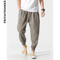 Privathinker Brand Cotton Linen Casual Harem Pants Men Jogger Pants Men Fitness Trousers Male Chinese Traditional