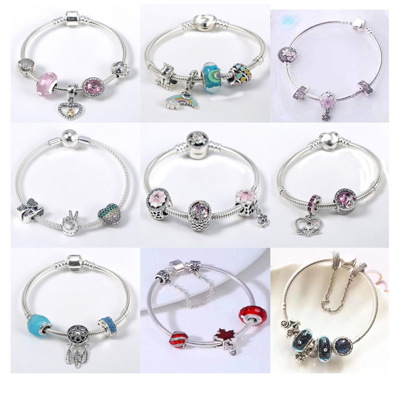 Luxury 100 925 Sterling Silver Charm Chain Fit Original Bracelet Bangle for Women Authentic Jewelry Gift