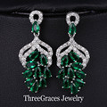 Fashion Grape Shape White Gold Plated Austrian Design Women Crystal Drop Earrings With Created Emerald Green Stone ER028
