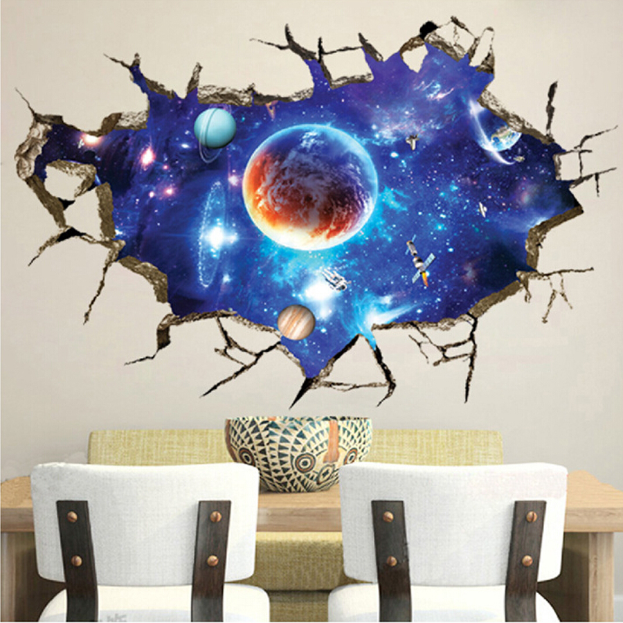 2016 Brand New 3D DIY Space Star Vinyl Wall Stickers For Kids Room Home Decor Living Room Decoration Removable Wall Art Decals