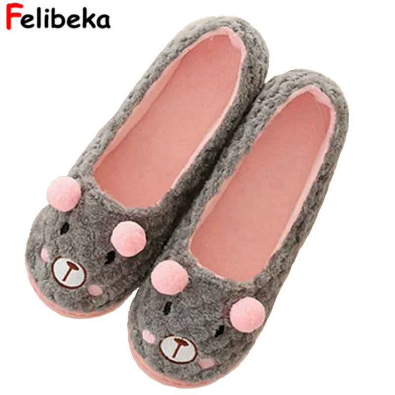 Wholesale hot selling fashion Cute Flannel little bear female Floor Slippers For Indoor bedroom house ladies shoes fashion house