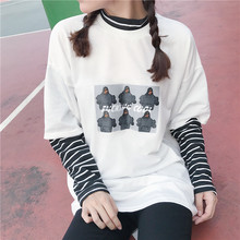 Women T Shirt Character Letter Print Stripe Patchwork Casual Loose Long Sleeve T Shirt Tee Top letter square print t shirt