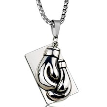 Double Boxing Gloves Fist Hand Pendant Necklace Snake Chain Silver Cool Fitness Bodybuilding Men Gym Hip Hop Jewelry