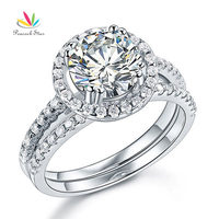 Solid 925 Sterling Silver Wedding Engagement Halo Ring Set 2 Carat Created Diamond Wedding Jewelry CFR8218