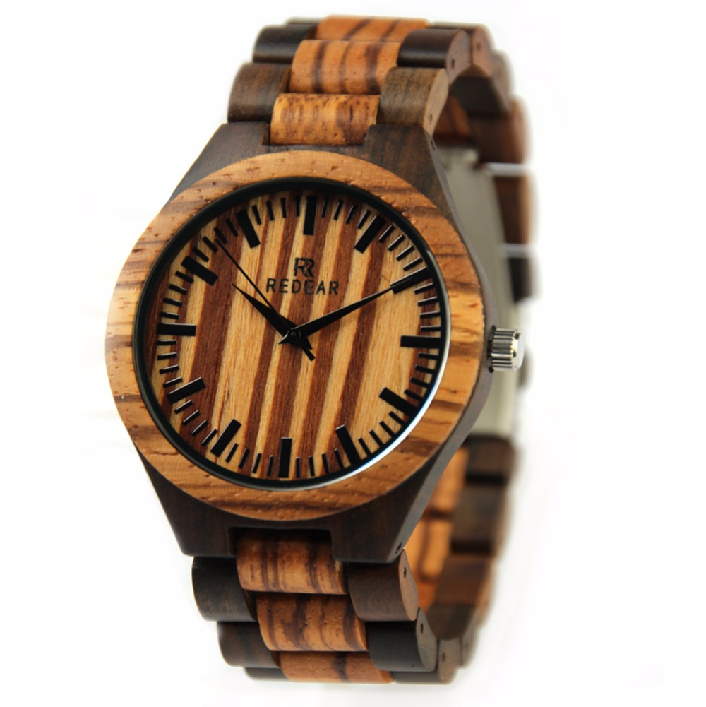 ФОТО 2016 New REDEAR Men's Simple Wrist Watch Zabra Wood Watch Case With Japan Movement Quartz Wristwatches Best Gift Item