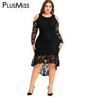 PlusMiss Plus Taille 5XL Sexy Cold Shoulder Dentelle Haut Bas Midi Robe Femmes Moulante Sheer Élégant Soirée Robe Grand taille