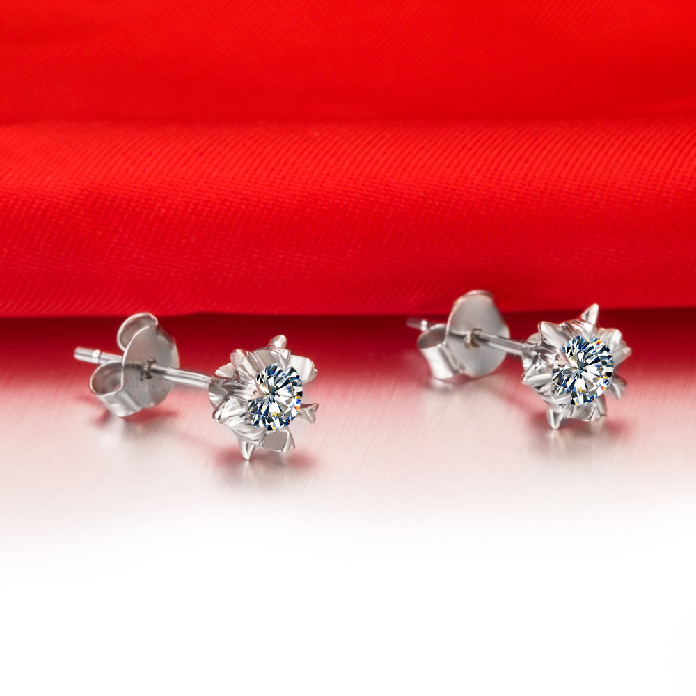 Glamour 1ct Piece Snowflake Sterling Silver Earrings Stud Solitaire Synthetic Diamonds White Gold Color Jewelry In From