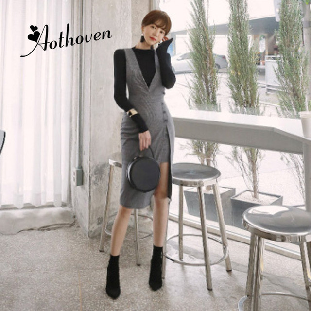 2 Piece Set Spring Party Office Long Sleeve Pullover Casual Blouse Top and Gray Midi Dress Ladies Pants Two Piece Set Vestidos