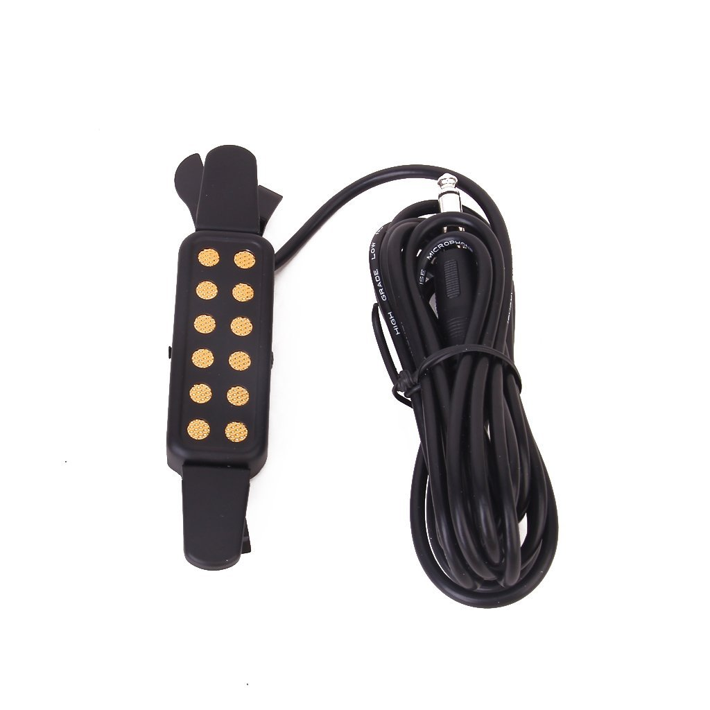 Wholesale 5X Clip-On Acoustic Guitar Pickup Sound Amplify, Padded Clip Guards high quality clip on sound pickup microphone wire 12 hole acoustic electric guitar pick up transducer amplifier accessories new