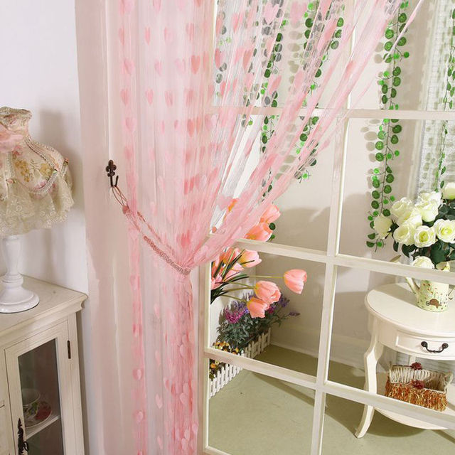 New String Heart Curtain For Living Room Door Tassel Screen Room Divider Window Blind Drape Heart Panel Chinese Curtains