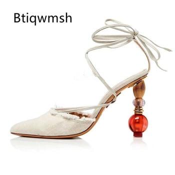 2019 Bohemia Gladiator Sandals Women Pointed Toe Rhinestone Bead Metal Strange High Heel Shoes Woman Sexy Party Shoes