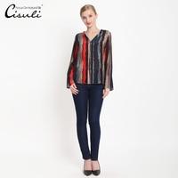 100% Silk Crepe Blusas Mulberry Silk Crepe Fabric Shirts Women Blouses Organic Silk Fabric Women stripe Shirt New Arrival
