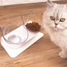 VOVOPET Pet Dog Cat Double Bowl Plastic Nonslip Puppy food Water Feeder Dish Transparent Protection Cervical