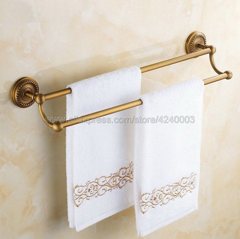 Classic Antique Brass Wall Mounted Bathroom Double Towel Rail Holder Rack Bathroom Accessories Towel bar Towel holder Kba093 in Towel Bars from Home Improvement
