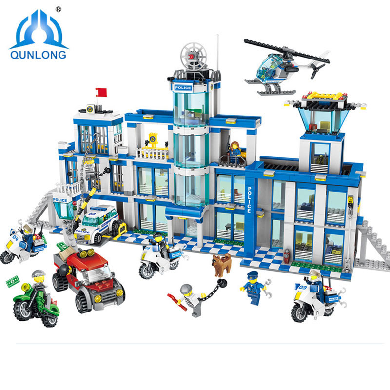 Qunlong 1397pcs Action Model Building Blocks City Police Station Series Set Compatible LegoINGlys City Police Children Toy Gifts 519pcs city police station building blocks action figures set transform robot compatible with 60047 for kid gift