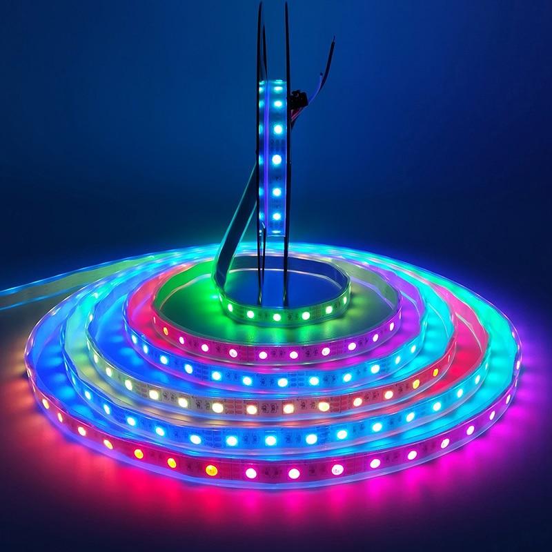 WS2811 sloksnes led lampa 5m ūdensizturīga rgb lente 5050 rgb 30 60 - LED Apgaismojums - Foto 6
