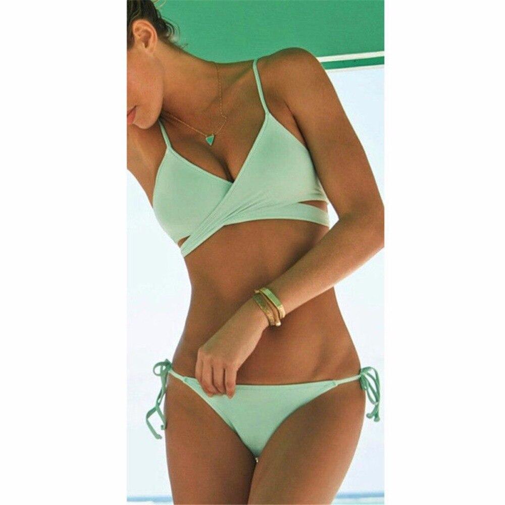 Womem Hot Sell Cross Bandage Bikini Set Sexy Low-Waist Push Up Swimwear Women Swimsuit Biquinis Padded Bra BathSuit