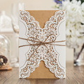 10 unids/lote blanco cuerda de cáñamo rústico ribbon invitaciones de boda del corte del laser tarjetas de boda favorece el envío libre