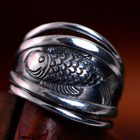 925 pure silver jewelry Retro adjustable small fish handmade after year silver ring