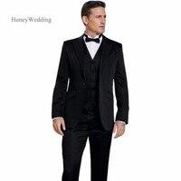 2018 블랙 현대 결혼식 정장 슬림 맞는 사용자 정의 만든 신랑 턱시도 들러리 신랑 정장 재킷 + 바지 + 조끼