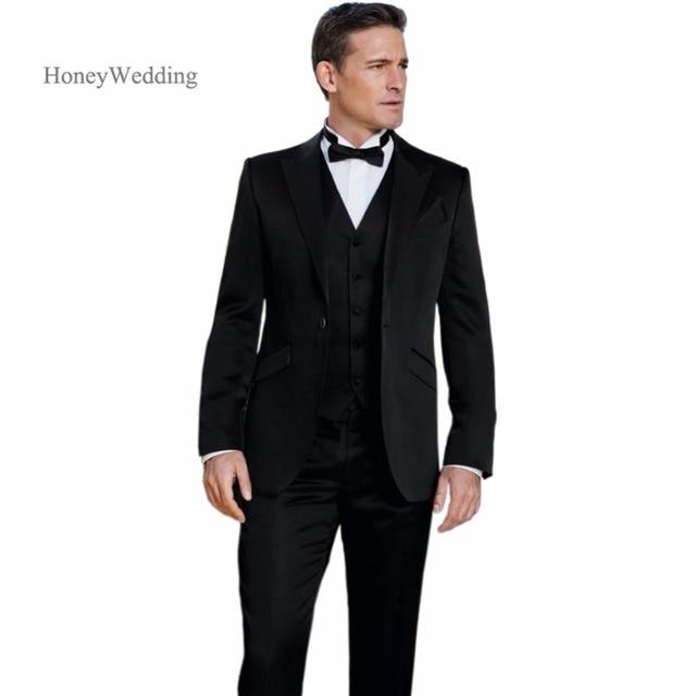 2018 moderno negro ceremonia de boda traje slim fit novio por encargo  Esmoquin groomsman novio traje 25991d46d97