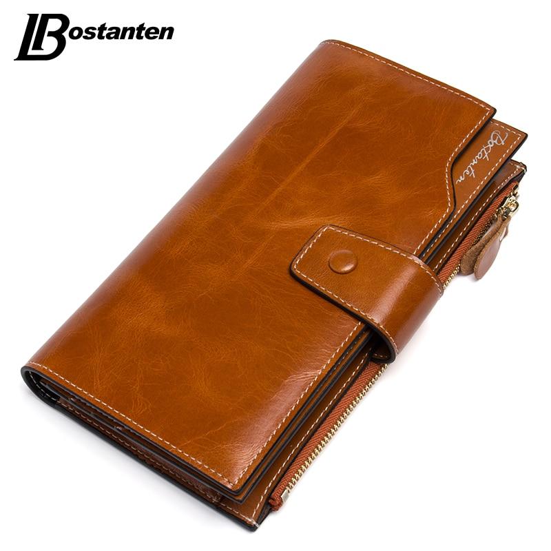 BOSTANTEN Oil Wax Cowhide Genuine Leather Women Wallet Phone Coin Purse Wallet Female Card Holder Lady