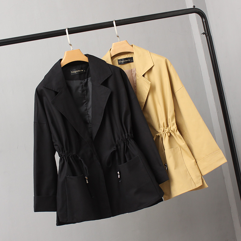 Plus Size Women Trench Coats 2018 Spring Autumn Coats Korean Loose Waist Double Pocket Solid Windbreaker Female Outerwear A519