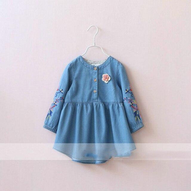 Девушки Джинсовые Весна Платье Оборками Цветочные Вышивка Милые Старинные Платья