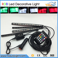 4 In1 Car Auto Interior Wireless Remote Voice Music RGB Control 7 Colors Strip Decorative LED