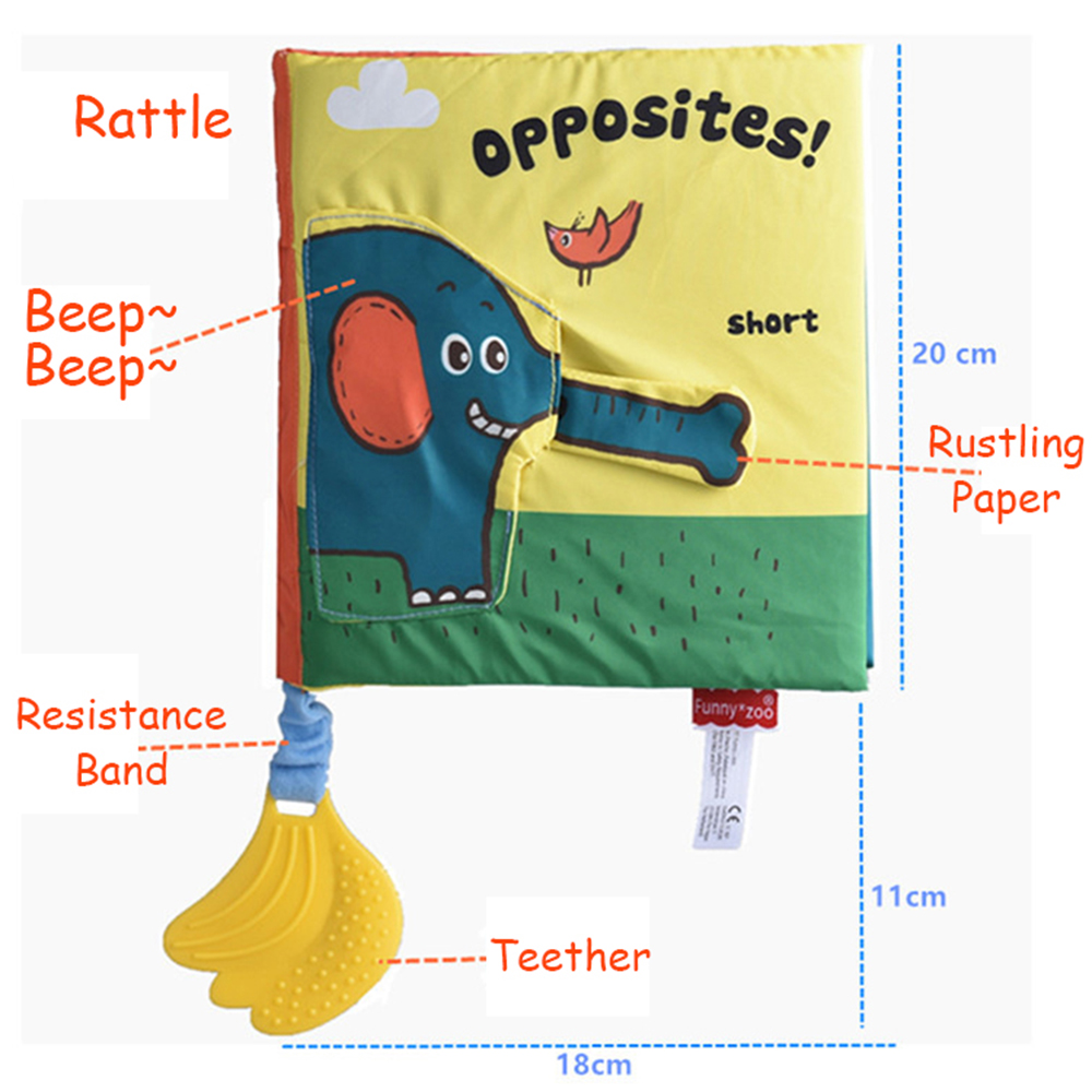 Soft Elephant Book Three-Dimensional Puzzle Early Education Tooth Tape Baby Cloth Books For Children Stuffed Plush Baby Book