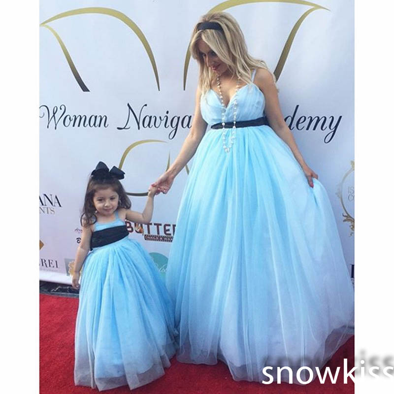 Custom new mother and daughter light blue spaghetti straps ball gowns with black sash elegant long tulle birthday pageant dress elegant spaghetti straps sequins mermaid evening dress