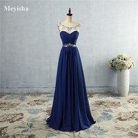 ZJ5074 O Neck A Line Prom Dresses Sexy Royal Blue Sleeveless Graduation Party Gowns Princess Size