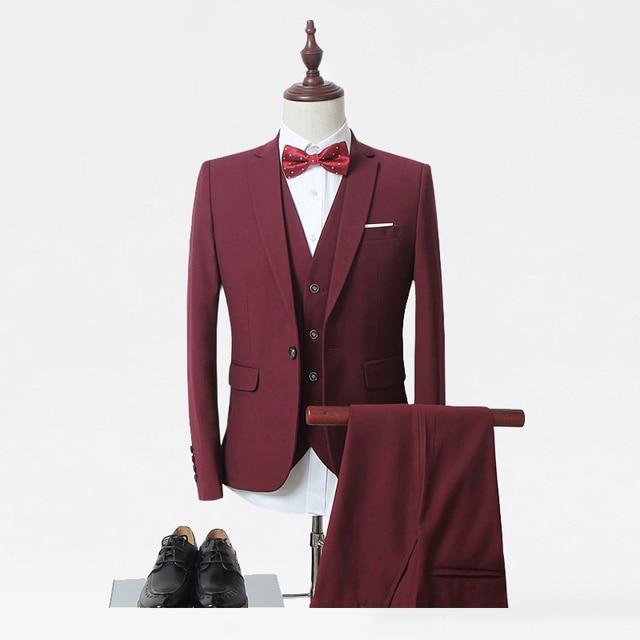 (Jacket+Vest+Pants) Grooms Suits Men Slim Fit Suits Plus Size Mens White Wedding Suits With Pants Business Mens Formal Wear SN01