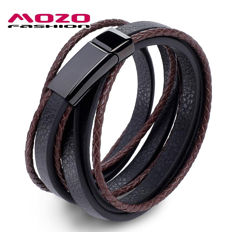MOZO FASHION Jewelry Men Bracelet Leather Large Black Buckle Bracelets Bangles Weave Bracelets For Man Brown
