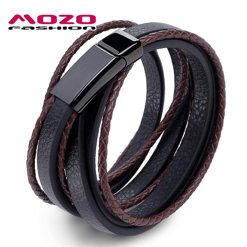 MOZO FASHION Jewelry Men Bracelet Leather Large Black buckle Bracelets  Bangles