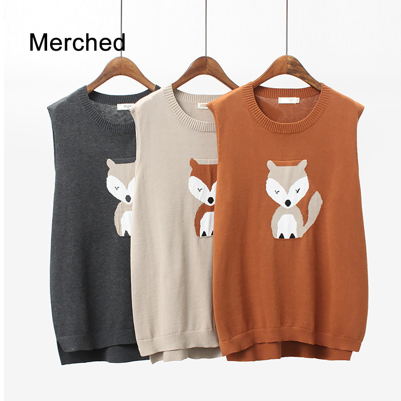 Merched Casual Loose Brief Split Patchwork Women Vest Animale Cute Sleeveless Coat Mujer 4XL Plus Size Knitted Pullover Jumper