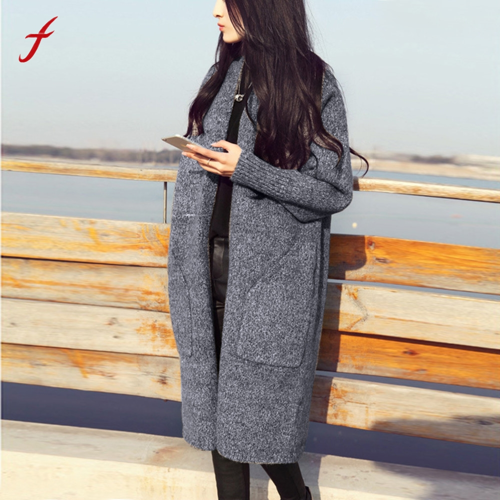 Coat Fashion Cardigan Sweater Oversized Long-Sleeve Warm Loose Winter Women Casual