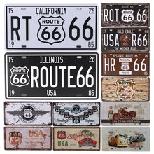 Route 66 Group License Plate Metal Car Number Home Decor Sign Garage Painting Plaques Tin Signs Bar Pub Cafe C10