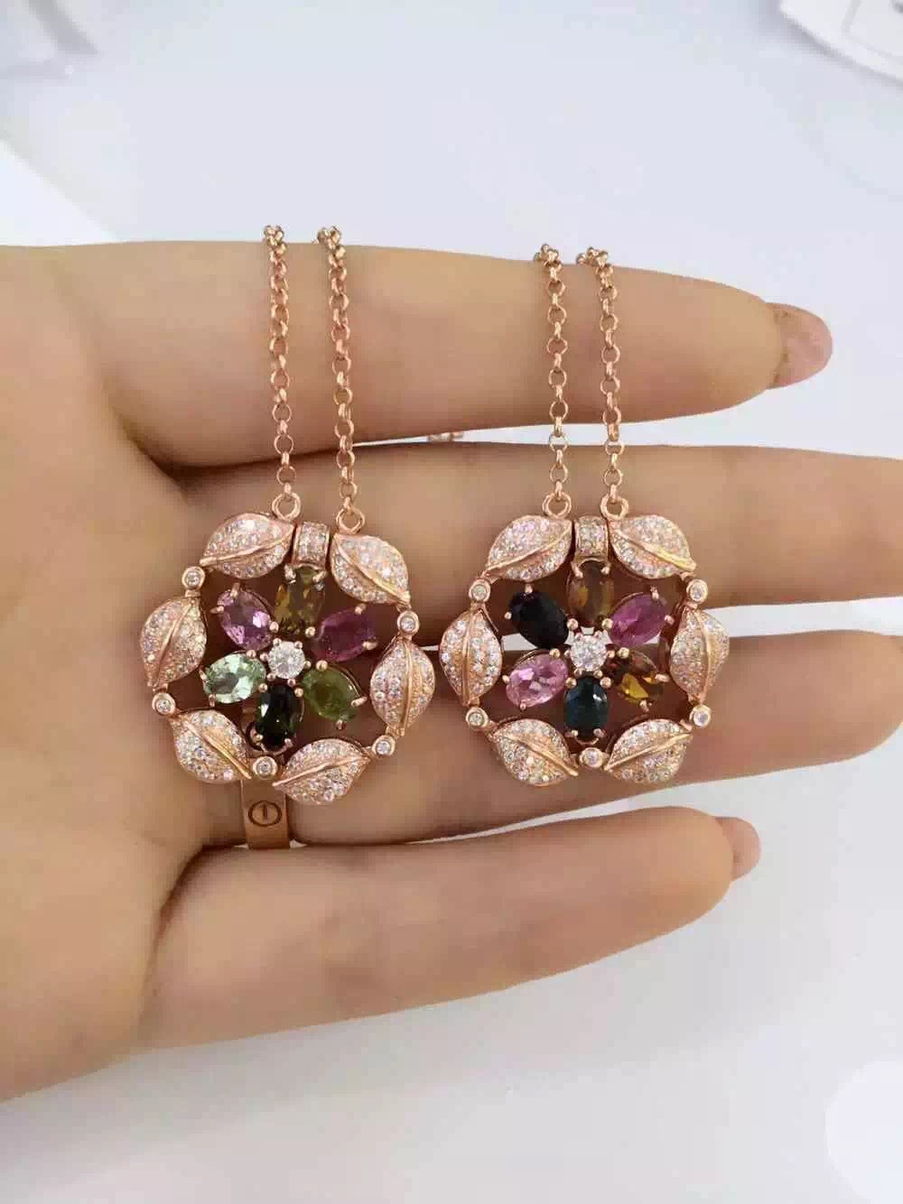 Natural multicolor tourmaline Necklace natural gemstone Pendant Necklace S925 silver Two wear Fashion Round flowers Jewelry